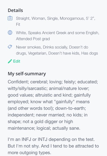 Description of self for online dating